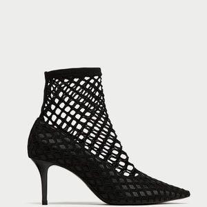 Zara Fishnet Black Heels